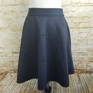 Catherine Malandrino Navy Scuba Embellished Skirt